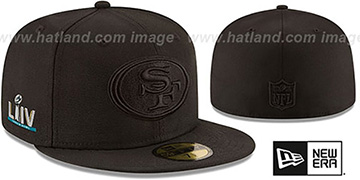 49ers 'SUPER BOWL LIV TEAM-BASIC BLACKOUT' Fitted Hat by New Era