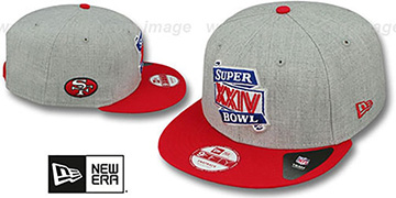 49ers 'SUPER BOWL XXIV SNAPBACK' Grey-Red Hat by New Era