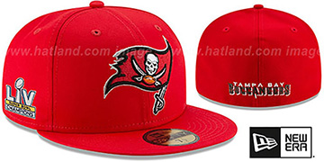 Buccaneers 'SUPER BOWL LV CHAMPS TEAM-BASIC' Red Fitted Hat by New Era