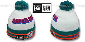Dolphins 'SUPER BOWL VII' White Knit Beanie Hat by New Era