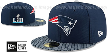 Patriots 'NFL SUPER BOWL LII ONFIELD' Navy Fitted Hat by New Era