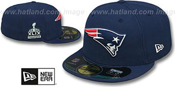 Patriots 'SUPER BOWL XLIX CHAMPS' Navy Fitted Hat by New Era