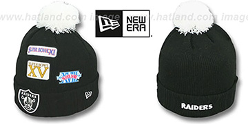 Raiders 'SUPER BOWL PATCHES' Black Knit Beanie Hat by New Era