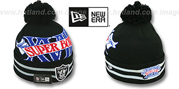 Raiders 'SUPER BOWL XVIII' Black Knit Beanie Hat by New Era