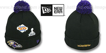 Ravens 'SUPER BOWL PATCHES' Black Knit Beanie Hat by New Era