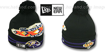 Ravens 'SUPER BOWL XXXV' Black Knit Beanie Hat by New Era