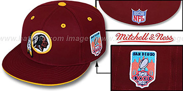 Redskins 'SCRIMMAGE PATCH' Burgundy Fitted Hat by Mitchell and Ness
