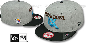 Steelers 'SUPER BOWL IX SNAPBACK' Grey-Black Hat by New Era