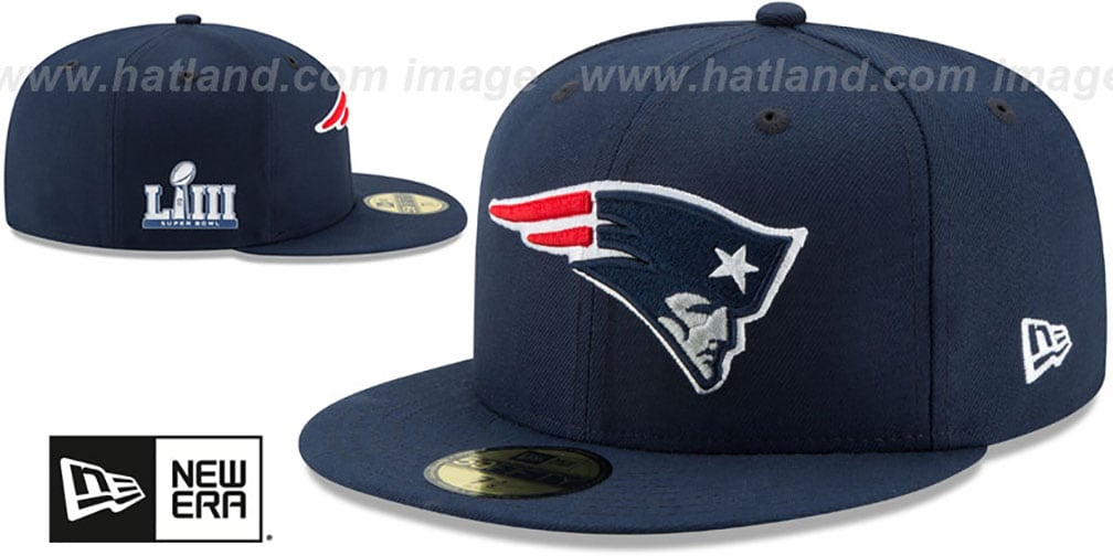 Patriots 'NFL SUPER BOWL LIII ONFIELD' Navy Fitted Hat by New Era